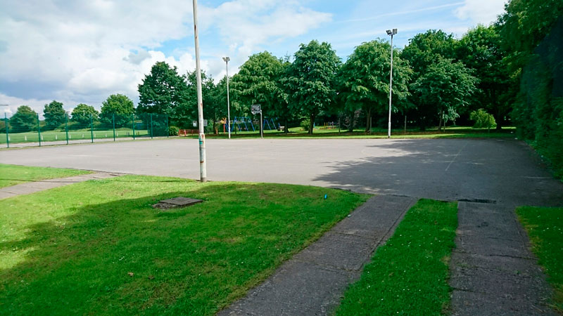Rear sports pitch overflow car park